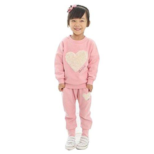 Baby Outfits für 3-7 Jahre, Janly® Kinder Kleidung Langarm Herz Print Trainingsanzug + Pluderhosen Herbst Freizeitkleidung Set (Alter: 6-7Jahre alt, Rosa)