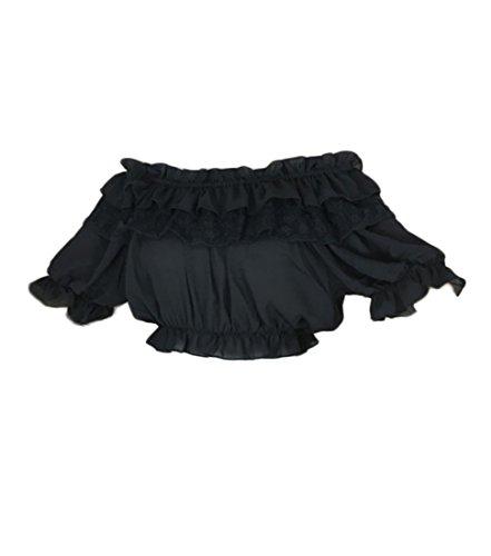 NSPSTT Damen Lolita Trägerlosen Shirt Vinatge Chiffon Cosplay Ruffle Bluse Hemd (Niedliche Halloween Kostüme Für Schwarze Menschen)