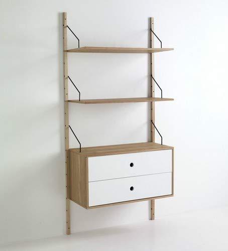 Wink Design Kiju Libreria a Montanti a Parete con 2 Ripiani e 1 Cassettiera, Legno, Marrone, 85x35x180 cm