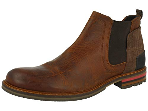 BULLBOXER Herren Stiefeletten, Männer Chelsea Boots, robust Men's Man Freizeit leger Stiefel halbstiefel Bootie Schlupfstiefel,Brown,44 EU / 9.5 UK