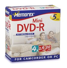 memorex-8cm-mini-dvd-r-14gb-4x-speed-5er-mini-jewel-case-dvd-rohlinge