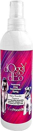 Pretty Pooch Deo Deo Deo Deo Spray 250 ml - Babypuderduft - Hergestellt in Großbritannien -