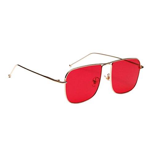 MagiDeal Retro Square Rechteckige Sonnenbrille Metall Gestell Polarisierte Gläser für Herren Damen - rot