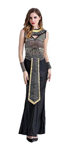 Honeystore Damen Halloween Kostüme Kleopatra und Griechischen Göttin Cosplay Allerheiligen Kleider Schwarz M