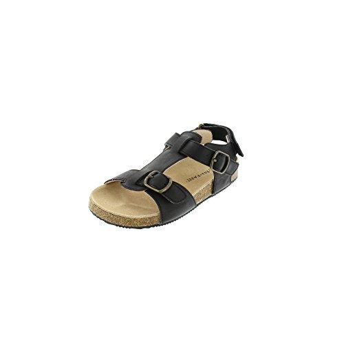 EnFant garçon sandales nu-pieds à scratch, cuir, 815132 Noir