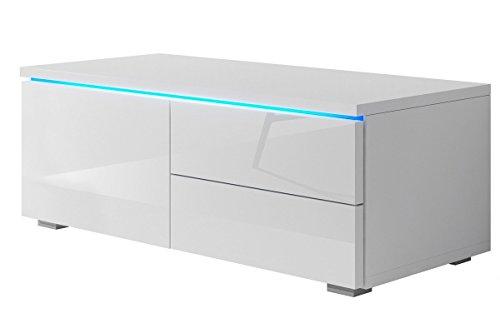 TV Schrank Lowboard Sideboard Tisch Möbel Board Luv Single mit LED (Weiß Matt / Weiß Hochglanz)