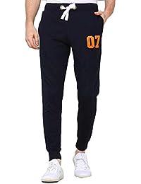 Ubof Men's 4 Way Lycra Stretchable Rib Regular fit Lower Track Pant (Navy Blue)