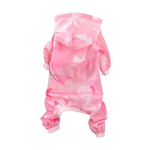 Kostüm Welpen Baby - POPETPOP Hund Sommer Coole Kleidung Dünne Sonnenschutzkleidung für Hund Overall Welpen Haustier Kostüm Mit Kapuze Sonnencreme Bekleidung - Größe M (Rosa)
