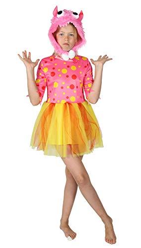 Foxxeo rosa Monster Kostüm für Mädchen Halloween Kinder Kostüme Fasching Karneval, Größe:98/104