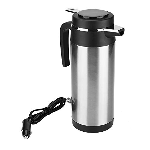 Qiilu Hervidor de Agua de Coche de Acero Inoxidable 1200 ML con 24V Encendedor de Cigarrillos Calefacción Taza para Té, café y Agua hirviendo en Coche Viaje
