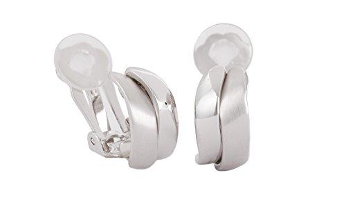 Traveller® Schmuck Ohrring Ohrclip - 22kt vergoldet, bicolor oder rhodiniert - matt/shiny (silber)