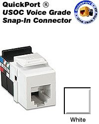 Leviton 41106-RW6 USOC Voice Grade QuickPort Snap-In Connector - White (Pkg of 10) by Leviton Leviton-snap-in