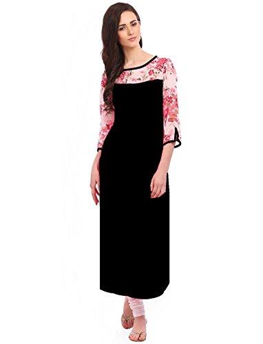 Desi Knots Women's Black Floral 3/4th Sleeve Kurti (XXXL)