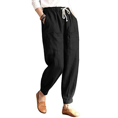 VRTUR Damen Stoffhose in Unifarben | Freizeithose für den Strand | Hose aus Leinen | Jogging Pant mit breitem Bündchen und Tunnelzug Schwarz S