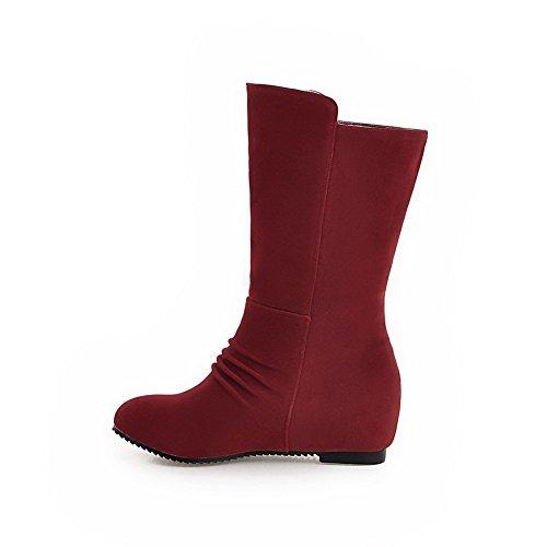 VogueZone009 Damen Mitte-Spitze Eingelegt Ziehen Auf Mittler Absatz Stiefel Rot