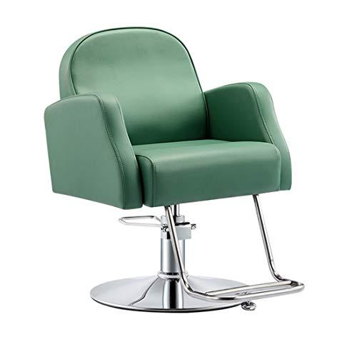 Poltrona sedia da barbiere professionale parrucchiere salone spa bellezza,regolabile,pompa idraulica, 360°,green,plating