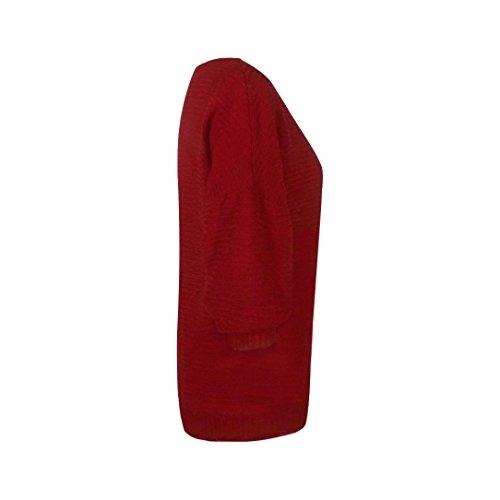 Transer ® Pull Femme,Femmes filles Batwing manchon tricoté lâche pull chasuble Rouge