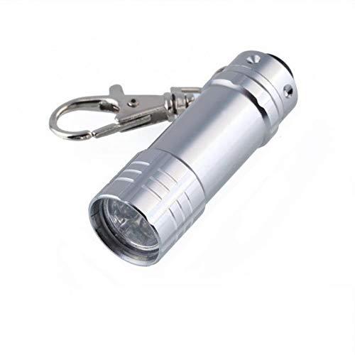 XYAYA Schlüsselbund Alloy Metal Keychain Men Mini Taschenlampe Schlüsselanhänger High Powerful Car Trinket Schlüsselanhänger Outdoor Camping Survival Tool, Silber