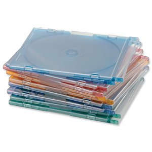 Compucessory CD Case Slimline Jewel for 1 Disk W125xD5xH124mm Assorted Ref CCS55314 [Pack 10] (55314)
