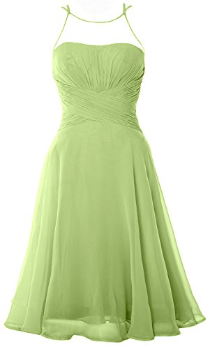 MACloth Elegant Illusion Short Cocktail Dress Chiffon Wedding Party Formal Gown Pistachio