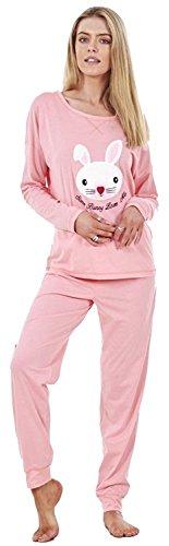 Damen-Langarm-Pyjama-Set Frauen-Baumwoll-Häschen-Druck PJ'S Nachtwäsche (EU38-UK10, Rosa)