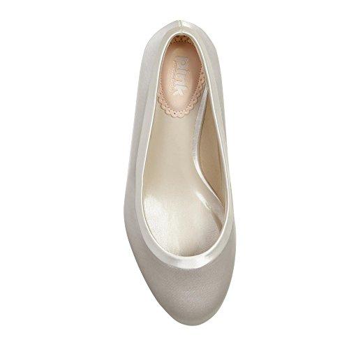 Paradox London Pink Chaussures de mariage Satin Cour faveur Wide Fit Ivoire