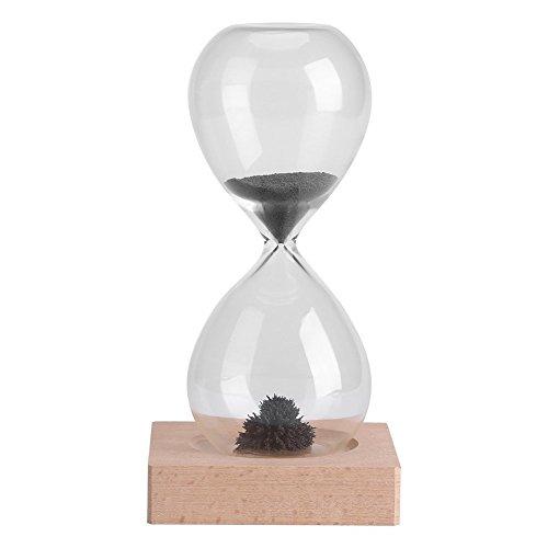 Temporizador de arena magnética reloj de arena de juguete escritorio de escritorio de oficina dispaly con base de madera