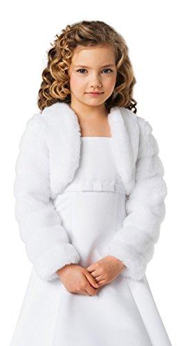 Madchen Kinder Kommunion Jacke kunstpelz Bolero Pelzimitat Fell-Nerzimitat CJ14