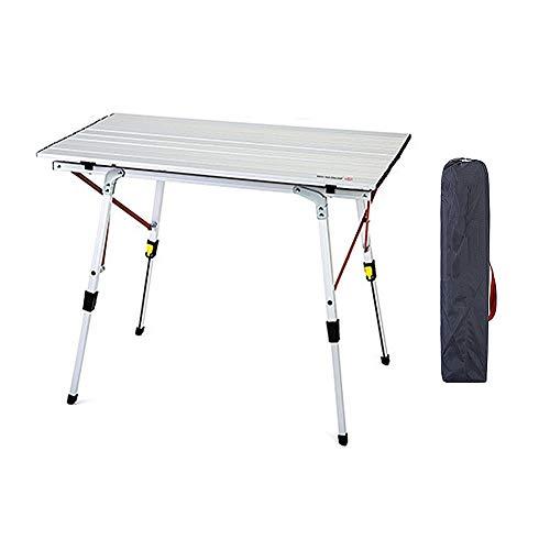 ZFF Faltbar Campingtisch Einstellbar Beine Aluminium Tabelle zum Garten Picknick Grill Festival Tragbar Roll Up - Höhenverstellbar Aktivität Tabelle
