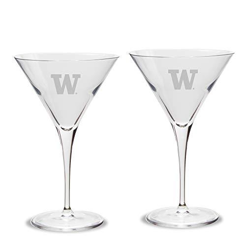 NCAA Washington Huskies Luigi Bormioli Titanium Martini Glass - Set of 2, Clear, 10 oz Red Martini-glas