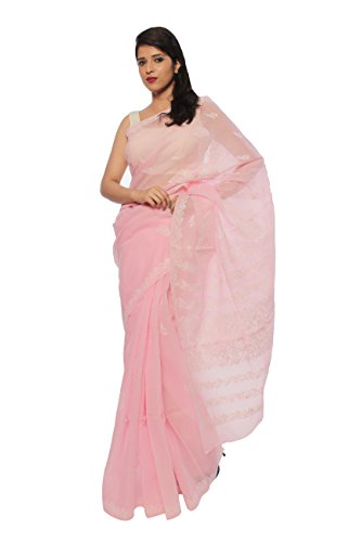 BDS Chikan Women's Lucknow Chikan Light Pink Cotton Saree with White Color...