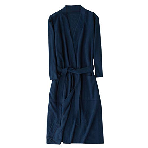 (TEBAISE Unisex Bademantel Reisebademantel Baumwolle Damen und Herren Übergrößen Morgenmantel Kimono Saunamantel Reise Morgenrock Frauen Männer)