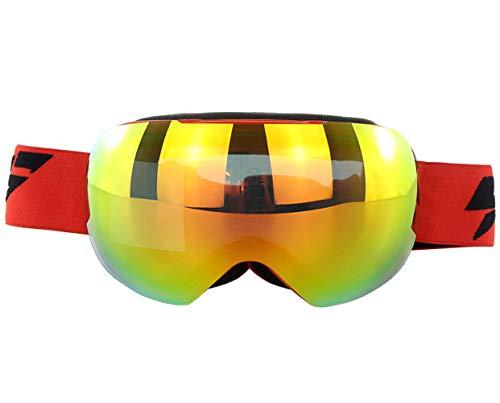 Gyqjs occhialini da sci unisex a doppia patinatura hd visione isolamento abbagliamento radiazioni anti-nebbia neve anti-sabbia occhiali da sole moto motoslitta,red