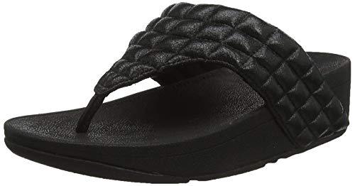 FitFlop Damen Lulu-Padded Shimmy Suede Toe-Thongs Sandalen, Schwarz (All Black 090), 38 EU -