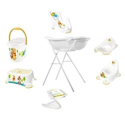 9er Set Disney Winnie Pooh weiß Badewanne XXL 100 cm + Badewannenständer + Badesitz + Topf + WC Aufsatz + Hocker + Windeleimer + Ablaufschlauch + Waschhandschuh