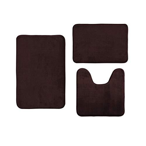 Twocc-Saugfähige Antirutschmatte Für Badezimmermatten Aus Coral Velvet Memory Cotton, 3 Stück/Set (Cafe)