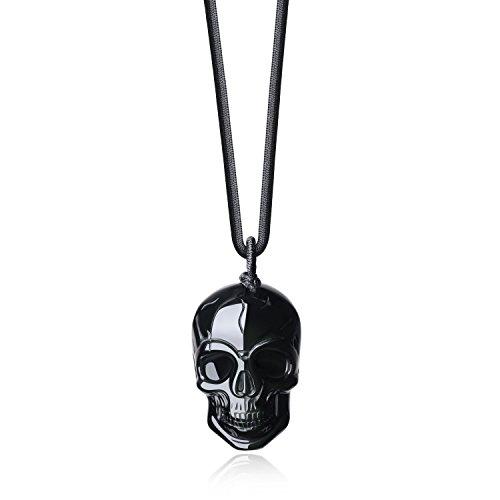 COAI Collar de Colgante de Cráneo de Obsidiana Negra