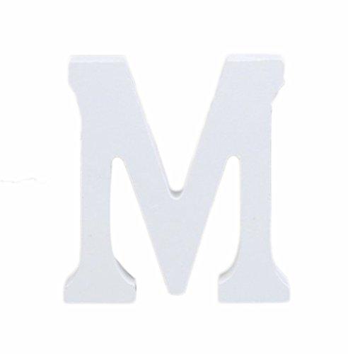 weimay 3D Höhe 8cm DIY Holz Buchstaben weiß Alphabet für Hochzeit Büro Geburtstag Home Dekorationen M (3d Alphabet Buchstaben)