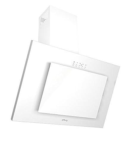 HAAG Vertikal C Weiß + Glas + LED, Kohlefilter GRATIS! 50 cm Breite Dunstabzugshaube, Kopffrei, Wandhaube