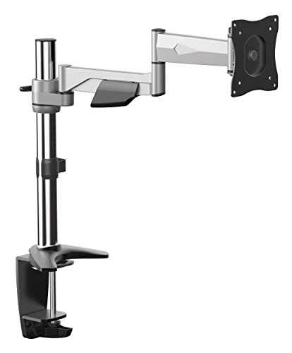 RICOO Monitor Tischhalterung für Monitore Monitorhalterung TS5211 Aluminium Universal Monitorständer Schwenkbar Neigbar Höhenverstellbar Bildschirmständer Tisch Ständer VESA 75x75 100x100/Silber