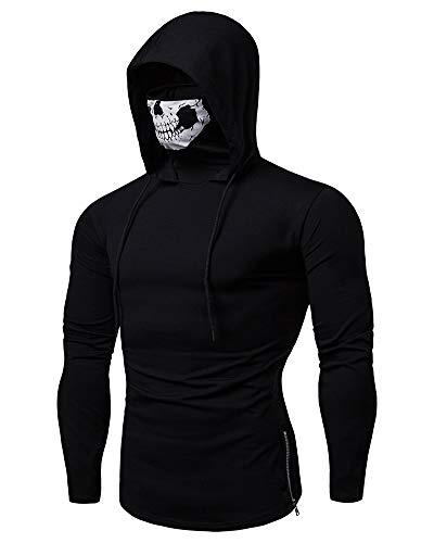 Hombre Sudaderas con Capucha de Manga Larga Mascara de Calavera Chaqueta Camiseta Negro L