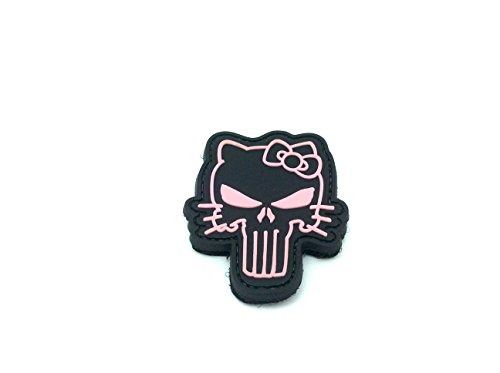 Kitty Rosa Punisher PVC Klett Emblem Abzeichen (Rosa Emblem)