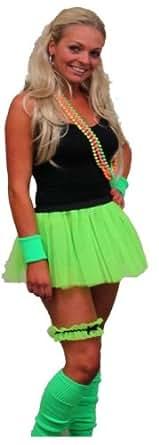 Neon Pleated Tutu 1980s Clubbers Fancy Dress Dancewear Hen Party UK (Neon Green tutu only)