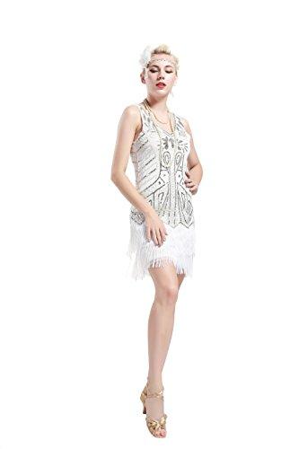 Babeyond Vestito Gatsby Donne 1920s Vestito Abito Anni 20 Donna Flapper Dress 1920s Vestito da Sera Paillette Impreziosito Frange Gatsby Dress Senza Maniche Bianco