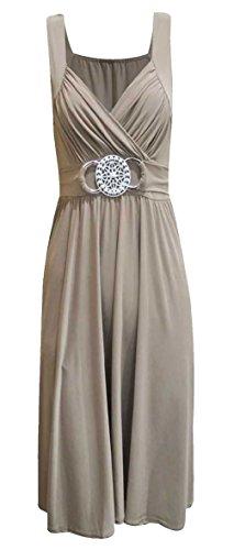 BARAKAH Damen Kleid Formell Lang Ball Abend Maxi Kleid Übergröße 36 54 - L/XL 44/46, Weiß