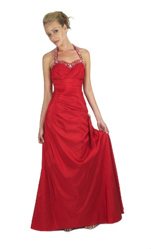 Gorgeous Halter-neck Evening Dress Prom Ball Gown in Purple, Black, Red, Dark Blue and Silver colours-ED8901 Rot