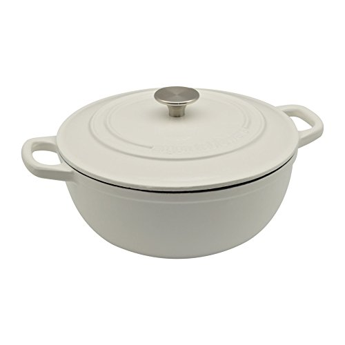 Argon Tableware 3.5L Round, Cast Iron Dutch Oven Enamelled Casserole Dish, Oven Safe - White