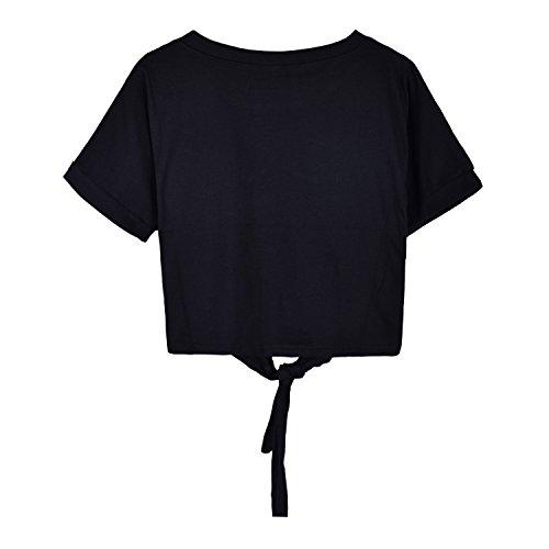 Choies Damen Knot Shirt Basic Crop Top Rundhals Kurzarm Bauchfrei Tie up Sommer Süß Oberteil Top Schwarz
