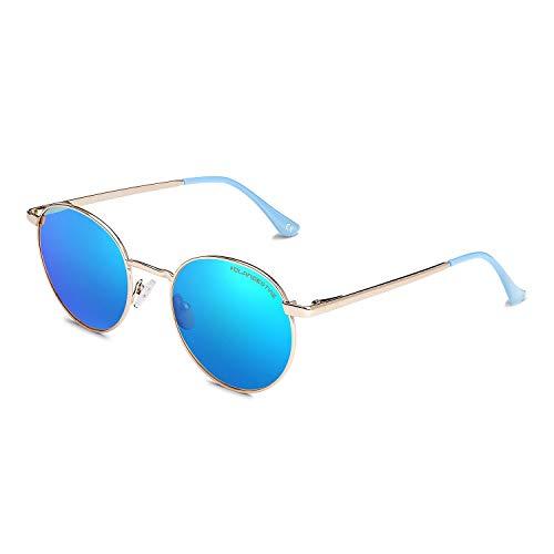 CLANDESTINE Orbita Gold Light Blue - Gafas de Sol de Nylon HD para Hombre & Mujer