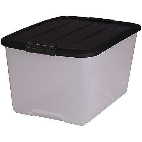 Iris Set di scatole con manico e coperchio, in plastica trasparente, nero, Set da 12 (Large)